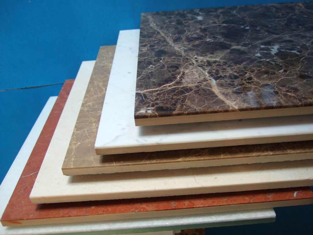 Stone porcelain composite tiles for construction