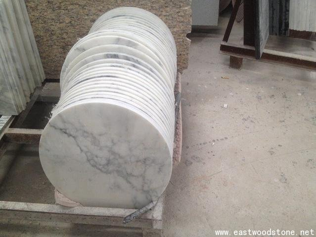 36 Round And Exquisite White Color Marble Table Top